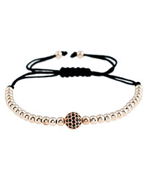 Fashion Rose Gold Round Shape Decorated Simple Pure Color Design Bracelet
