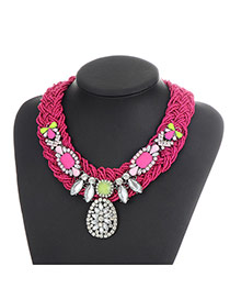 Bohemia Plem-red Waterdrop Shape Pendant Decorated Simple Jewelry Sets