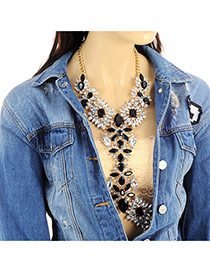 Exaggerate Gold Color+multi-color Geometric Shape Gemstone Decorated Simple Body Chain