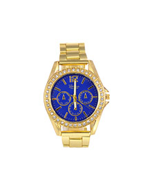 Fashion Blue Color Matching Decorated Round Dail Shape Watch