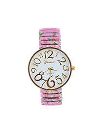 Fashion Pink Painting Flower Pattern Decorated Round Daild Watch