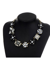 Fashion Black Square Shape Diamond Decorated Color Matching Necklace