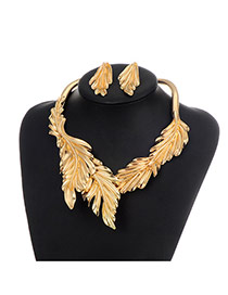 Fashion Gold Color Pure Color Decorated Leaf Shape Simple Jewelry Sets