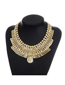 Fashion Gold Color Round Shape Diamond Decorated Multi-layer Simple Necklace