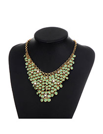 Fashion Green Round Shape Diamond Decorated Pure Color Simple Necklace