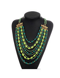 Fashion Green Beads Decorated Multi-layer Color Matching Necklace