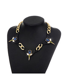 Fashion Sapphire Blue Water Drop Shape Diamond Decorated Color Matching Necklace