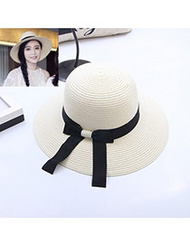 Fashion Beige Bowknot Decorated Simple Pure Color Hat