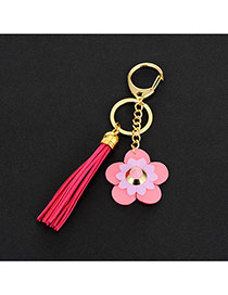 Lovely Plum-red Flower&tassel Decorated Simple Key Ring