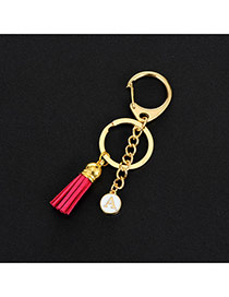 Fashion Plum-red Metal Round Shape &tassel Decorated Simple Key Ring