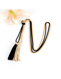 Bohemia Gold Color+black Double Layer Tassel Decorated Simple Long Chain Necklace
