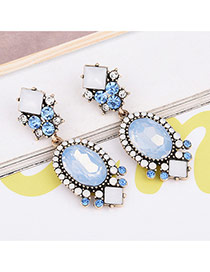 Trendy Blue Oval Shape Gemstone Decorated Color Matching Simple Earrings