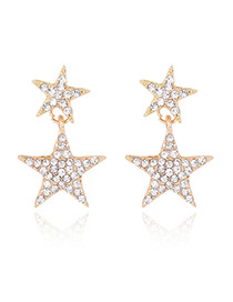 Trendy Gold Color Diamond Decorated Double Stars Design Simple Earrings