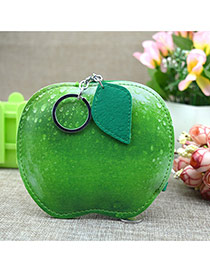 Fashion Green Circular Ring&leaf Pendant Decorated Apple Shape Simple Wallet