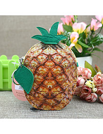Fashion Light Yellow Circular Ring&leaf Pendant Decorated Pineapple Shape Simple Wallet