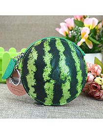 Fashion Dark Green Circular Ring≤af Pendant Decorated Watermelon Shape Simple Wallet