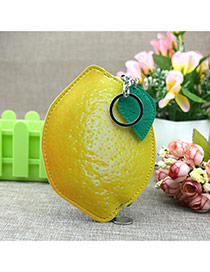 Fashion Yellow Circular Ring&leaf Pendant Decorated Mango Shape Simple Wallet