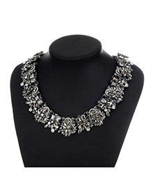 Fashion Gun Black Geometric Shape Diamond Decorated Pure Color Necklace