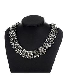 Fashion Gun Black Geometric Shape Diamond Decorated Pure Color Necklace