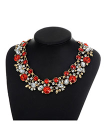 Fashion Red Pearls&diamond Decorated Double Layer Necklace