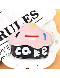 Fashion Black Cake Shape Decorated Color Matching Simple Wallet