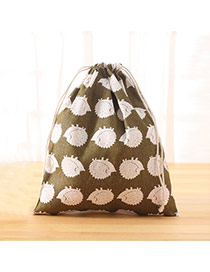 Fashion White+light Green Hedgehog Pattern Decorated Square Shape Duffle Bag