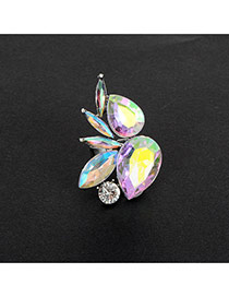 Fashion Multi-color Water Drop Shape Diamond Decorated Color Matching Ring