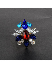 Fashion Multi-color Water Drop Shape Diamond Decorated Flower Shape Ring