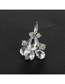 Fashion Silver Color Water Drop Shape Diamond Decorated Pure Color Ring