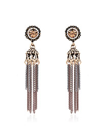Fashion Bronze Long Tassel Pendant Decorated Color Matching Simple Earrings
