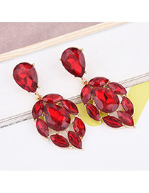 Trendy Red Oval Shape Gemstone Decorated Pure Color Simple Earrings