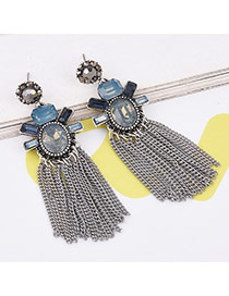 Vintage Gray Long Tassel Pendant Decorated Color Matching Simple Earrings