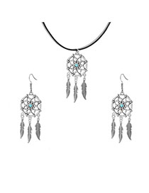 Fashion Silver Color Leaf Pendant Decorated Dreamcatcher Shape Jewelry Sets