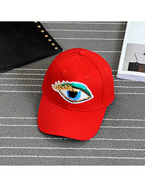 Fashion Red Embroidery Eye Pattern Decorated Pure Color Baseball Cap