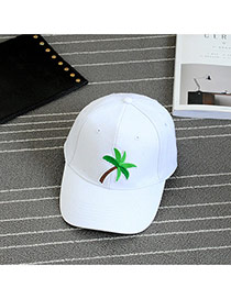 Fashion White Embroidery Tree Pattern Decorated Pure Color Baseball Cap