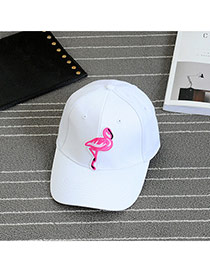 Fashion White Embroidery Swan Pattern Decorated Pure Color Baseball Cap