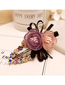 Elegant Purple+pink Two Flowers Decorated Duckbilled Shape Hair Clip