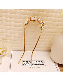 Fashion Gold Color Pearls Decorated U Shape Pure Color Hair Pin
