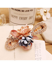 Elegant Pink+blue Flower Decorated Color Matching Hollow Out Hair Pin