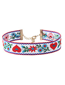 Fashion White Embroidery Flower Pattern Decorated Color Matching Choker