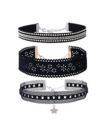 Fashion Black Diamond Decorated Hollow Out Flower Design Choker (3pcs)