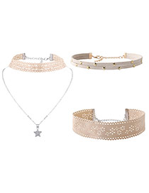 Fashion Beige Star Pendant Decorated Hollow Out Design Choker (3pcs)
