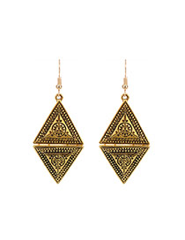 Fashion Gold Color Double Triangle Shape Decorated Pure Color Earrings