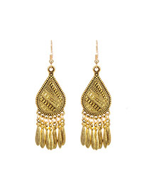 Fashion Gold Color Tassel Pendant Decorated Pure Color Earrings