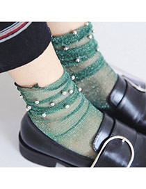 Fashion Green Rivet&pearls Decorated Pure Color Simple Socks