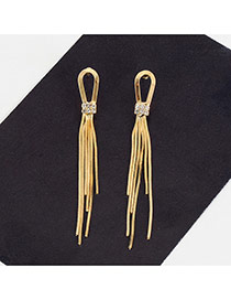 Fashion Gold Color Long Tassel Pendant Decorated Pure Color Simple Earrins