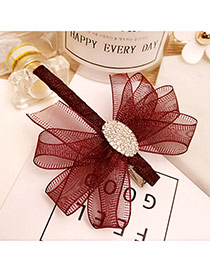 Fashion Claret Red Pure Color Decorated Bowknot Design Duckbilled Shape Hair Pin