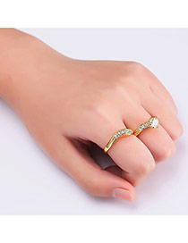 Fashion Gold Color Round Shape Diamond Decorated S Shape Design Ring(2pcs)