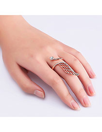Fashion Rose Gold Wing Shape Decorated Hollow Out Opening Ring
