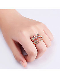 Fashion Rose Gold Pure Color Decorated Multi-layer Simple Ring